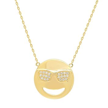 Cubic Zirconia Cool Sunglasses Emoji Pendant-Necklace in Gold Over Sterling Silver on an 18 inch chain