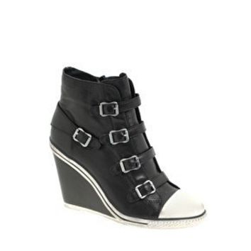 Ash Thelma leather Multi Buckle Wedge Trainer at asos.com