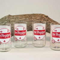 Drinking Glasses from Recycled Dr. Pepper Bottles, 8 oz, Unique Glassware, Unique Gift, ONE glass