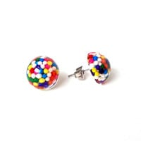 Small sprinkles stud earrings, candy sprinkle post earrings, tiny stud earrings, candy resin jewelry, Valentines gift for girls