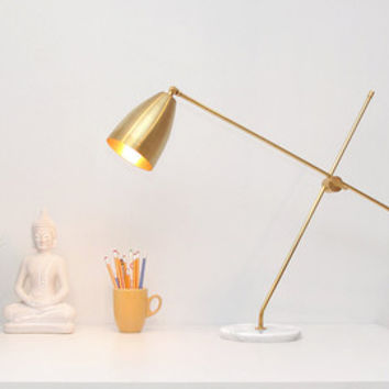 Opulux Dome Table Lamp, Modern Table Lamp made with Brass and Marble. Task Lamp, Desk Lamp, Mid century Modern, Brass Lamp. ON SALE.