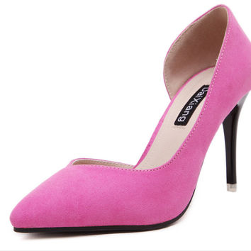 fine with Europe and the United pink States during the spring and autumn new suede tines side empty single shoes lighter heels