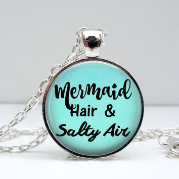 Mermaid Necklace - Mermaid Hair and Salty Air - Mermaid Pendant