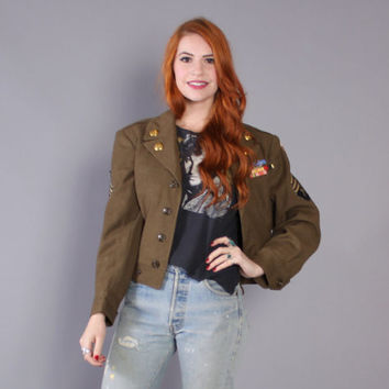 40s Military CROPPED JACKET / 1940s WWII Army Green Wool Eisenhower Coat, s-m