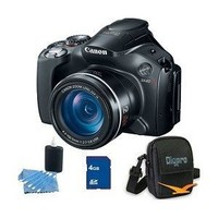 Canon Powershot SX40 HS 12.1MP Digital Camera with 35x Wide Angle Optical Image Stabilized Zoom and 2.7-inch Vari-Angle Wide LCD Deluxe Bundle With 4 GB Secure Digital High Capacity (SDHC) Memory Card, Digpro Compact Camera Deluxe Carrying Case, and more