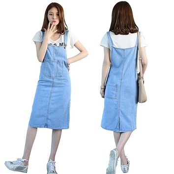 Fashion Korean Preppy Style Womens Jeans Suspenders Skirts New Casual Slim Woman Girls Blue Denim Midi Long Overalls Skirts