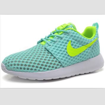 NIKE Roshe Run cellular breathable running shoes Blue and green