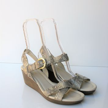 Cole Haan Air Tali Low Wedge Snakeprint Sandal 9