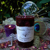 Enchantress Herbal Spell Pillar Candle - Sex Magick, Lust, Romance, Passion, Raising Sexual Energy, Beauty, Power, Honoring Goddess Freya