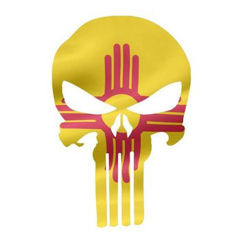 Punisher Skull New Mexico Flag Window Decal Sticker Graphic - Multiple Sizes