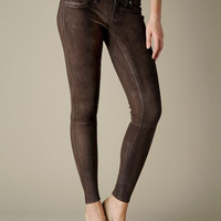 Women's Casey Stretch Suede Pant - Brown | True Religion Brand Jeans