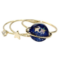 Rhinestone Star and Blue Planet Ring Pack