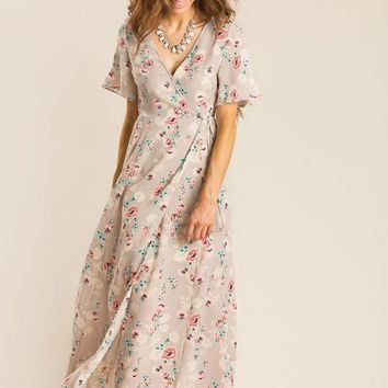 Jennie Taupe Floral Wrap Dress
