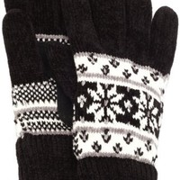 Isotoner Women's Double Snowflake Rayon Chenille Knit Palm Glove, Black, One Size
