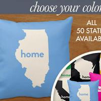 """Illinois Home State Pillow - State Map Throw Pillow, 16x16"""" or 20x20"""" pillow or pillow cover - laurenmary original design"""
