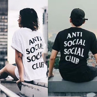 """ANTI SOCIAL SOCIAL CLUB"" Fashion Casual Male Female Letter Print Round Neck Short Sleeve Couple Cotton T-shirt"