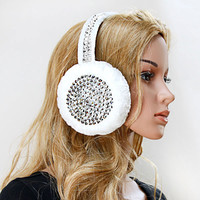 Studded Faux Fur Earmuffs (White)