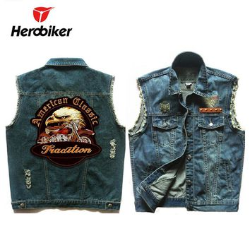 Trendy HEROBIKER Motorcycle Vest Men Locomotive Retro Vintage Reflective Flashing Denim Vest Motorsiklet Blue Safety Jacket Moto Vests AT_94_13
