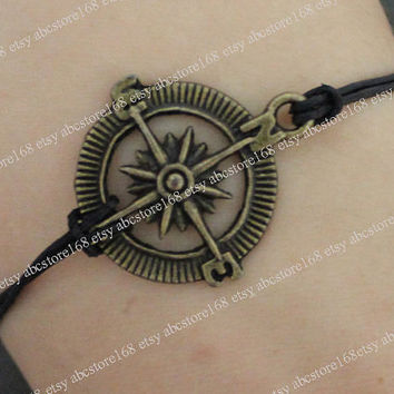Adjustable vintage compass bracelet -black leather bracelet