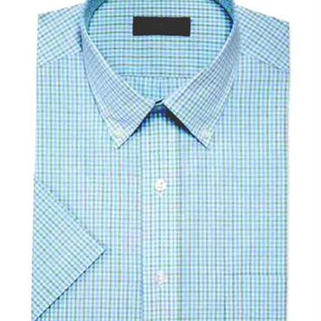Club Room Sage Blue Gingham Short-Sleeved Dress Shirt