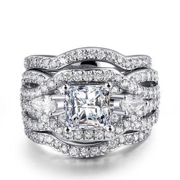 Wedding Ring Princess Cut Cubic Zirconia 3 Rings Set