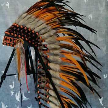 PRICE REDUCED Medium Length Indian headdress, Warbonnet, Native American Headdress, Burning man, Edc Outfit, Warrior hat, Rave Indian outfit