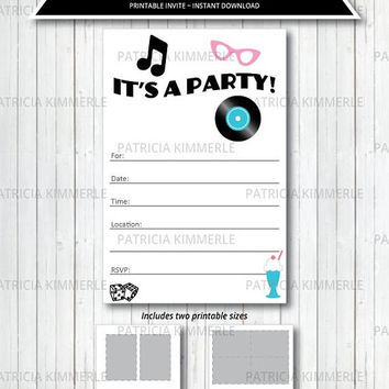 Printable Party Invitation, 1950s, Diner, Retro, Vintage, Swing, Rockabilly, Fifty's, Birthday, Decorations, DIY,  INSTANT DOWNLOAD
