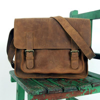 "Handmade Vintage Leather Messenger Bag / Leather Satchel / Leather Cross Body Bag / 11"" MacBook / iPad Bag D24"