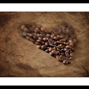 Kitchen wall decor, coffee beans photo print, brown wall art photography, kitchen art print, heart, monochrome print, rustic fine art print