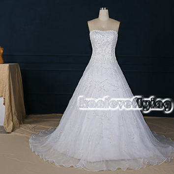 elegant white a-line strapless wedding dresses gowns,embroidery and beading wedding dress