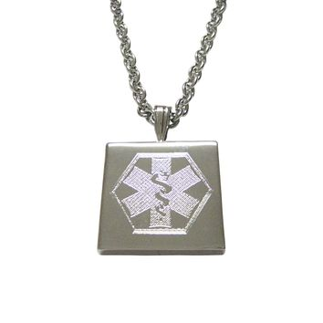 Silver Toned Etched Paramedic Star of Life Symbol Pendant Necklace