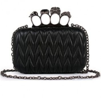 Black Knit Skull Ring Clutch