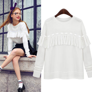 Sweet Tassels Knitted Sweater Pullover