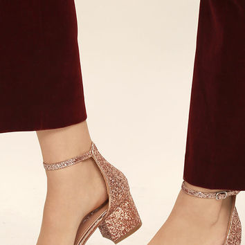 Reunion Pink Glitter Ankle Strap Heels