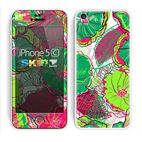 The Vibrant Green & Coral Floral Sketched Skin for the Apple iPhone 5c