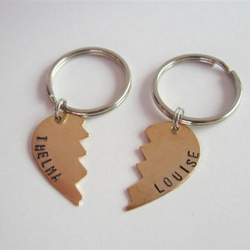 Thelma and Louise key chains, bronze, hand stamped Thelma & Louise key rings, broken heart