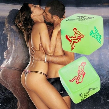 Luminous Funny Party Dice adult Games sex erotic game dices set  for couples , sexy love toys  products party craps Gambling (Color: Green) = 1930282692
