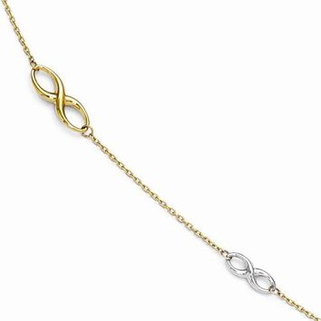 14K White and Yellow Gold Polished Anklet Bracelet