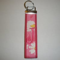 Preppy Monogrammed KeyFob Keychain Wristlet Hot Pink with pink floral