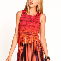 Abstract Markings Fringe Top