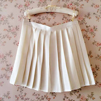 Go back to school -Women Full Pleated Skirt - Short Skirts - Summer Skirt - White Tennis Skirt -  Plus size Pleated Skirts - Graduation