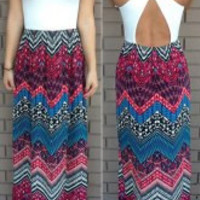Bohemian Printed  Corsets Maxi Dress