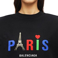 BALENCIAGA Summer Fashionable Women Men Paris Letter Print Short Sleeve T-Shirt Top