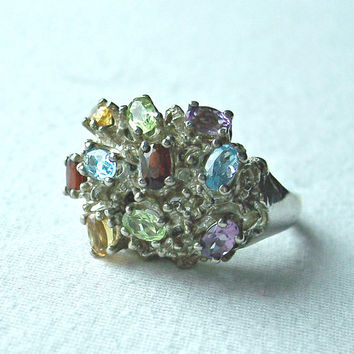 Vintage Multi Stone Cluster Ring,Chunky Sterling Ring,Multi Gemstone Ring,Dinner Ring,Cocktail Ring,Statement Ring,Signed EL,Ring Size 8 1/2