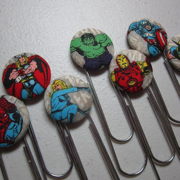 Marvel Comicbook Bookmark Fabric Cover Button by adrisadorables