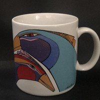 Vintage Laurel Burch Collectible Mug / Two Colorful Birds Coffee Cup / Post Modern Art Signed Laurel Burch / Exotic Rainbow Bird Drinkware