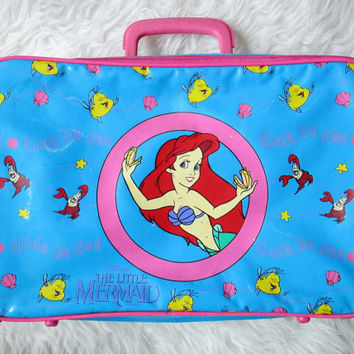 Vintage The Little Mermaid Under Da Sea Soft Sided Suitcase