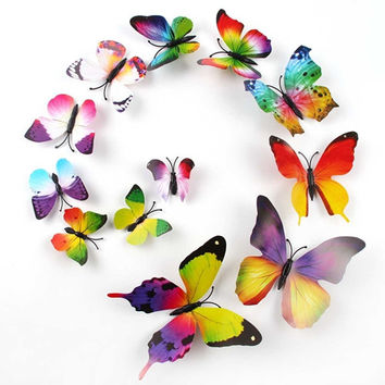 Rainbow 3D Butterfly Wall Sticker Decals / Magnets (12 pieces)