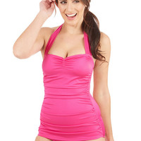 Esther Williams Vintage Inspired Bathing Beauty One-Piece in Fuchsia