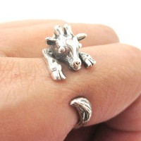 Realistic Giraffe Shaped Animal Wrap Around Ring in 925 Sterling Silver | US Sizes 4 to 8.5